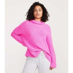 Lou & Grey Boucle Turtleneck Sweater Bright Pink